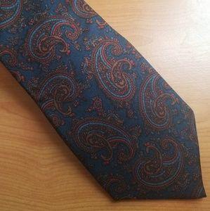Sero Mens Silk Paisley Print Blue Tie